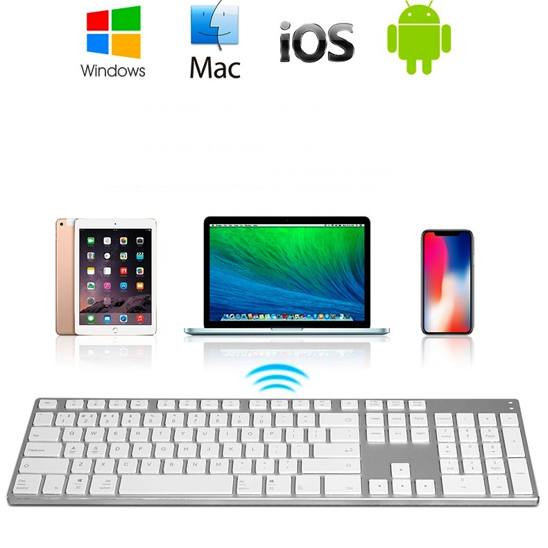 Computer Peripherals Sunny New Ak3.0 Ultra-thin Full Metal Body Full Size Multi-support Wireless Bluetooth Keyboard For Pc,notebook,tablet And Mobile Phone Be Friendly In Use Computer & Office