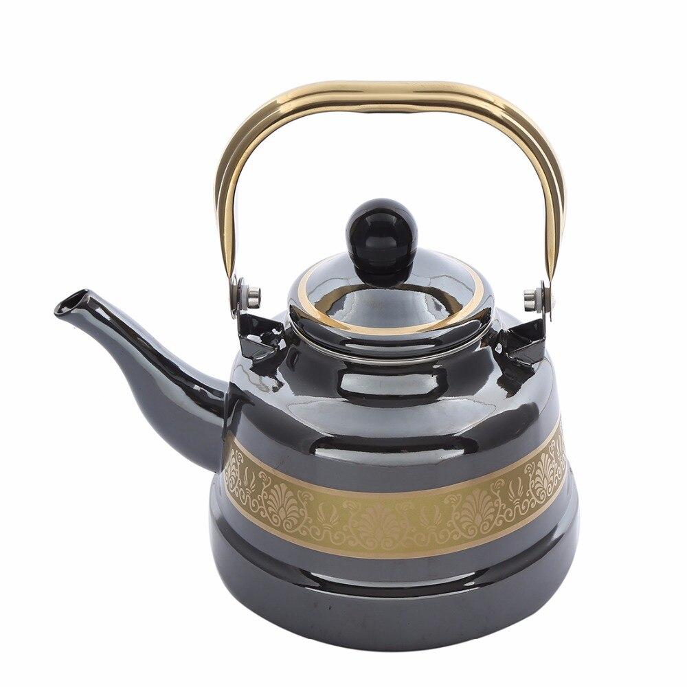 1.1, 1.7, 2.5L Tradicional Chinesa em forma de Sino de Ouro Preto Esmalte Pote pote Engrossado Água Chaleira Forno Eletromagnético Pote De Gás