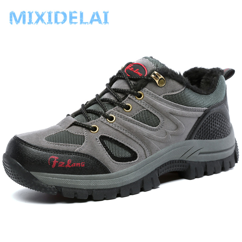 MIXIDELAI New Men Boots Winter Ankle Boots Warm Plush Snow Boots Fashion Lace-Up Outdoor Casual Sneakers Man Flock Male Shoes