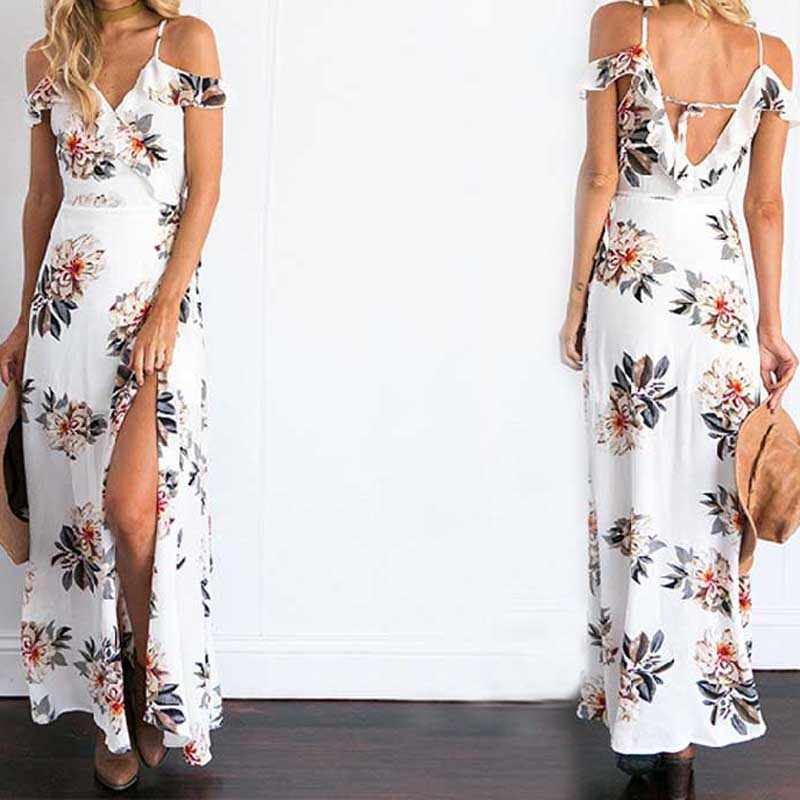 6c34a61ad7 ... Summer Beachwear Floral Print Ruffles Chiffon Maxi Long Dress Strap V  Neck Split Dresses Sexy Backless