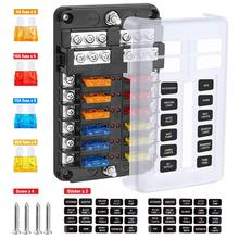 6Way/12way Blade Fuse Block Fuse Box Holder Circuit Car Ato/Atc Fuse Block with LED Indicator Damp-Proof Protection Cover Sticke