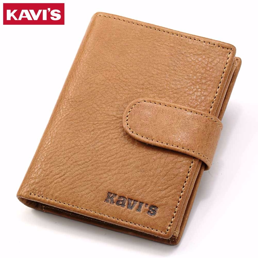 KAVIS 100% Genuine Leather Men Wallets Crazy Horse Male Coin Purse Vintage Credit Card Holder With Pocket Portomonee Walet Small simline genuine leather men wallet men s vintage crazy horse cowhide short wallets purse with coin bag pocket card holder male
