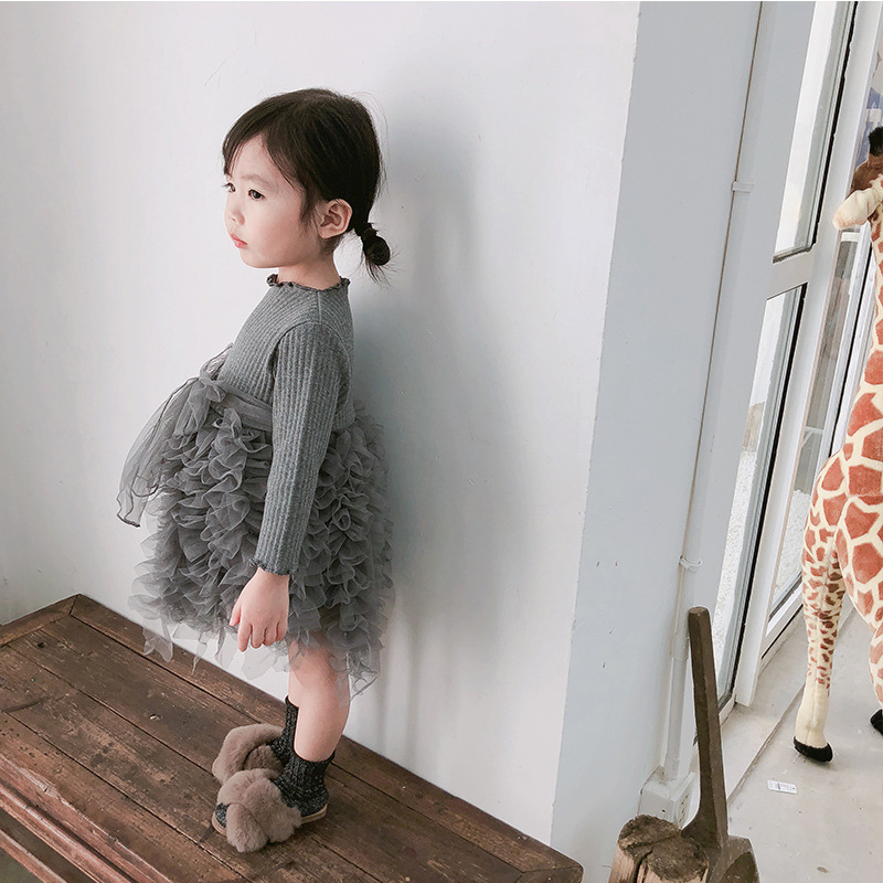 2019 Cotton Long Sleeve Knitted Kids Dresses For Girls Toddler Clothing Baby Girl Drees Tulle Patchwork Grey Pink White Spring 31