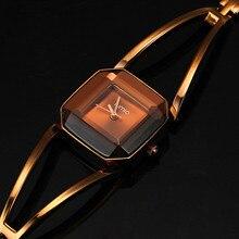 Nueva Llegada KIMIO Cuadrado Hueco de Acero Inoxidable de Cuarzo Impermeable de Los Relojes de Lujo de Las Mujeres Señoras de la Pulsera Relojes montre femme