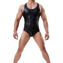 Mens סקסי בגד גוף חיקוי עור חתיכה אחת סרבלי מעצבי Mens היאבקות גופיית גוף Shaper פיתוח גוף גוף חליפות
