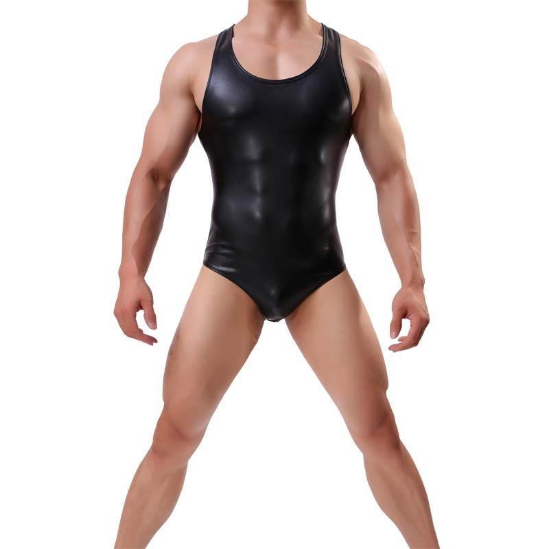 Mens Sexy Bodysuit Imitation Leather One Piece Jumpsuits Shapers Mens Wrestling Singlet Body Shaper Bodybuilding Body Suits