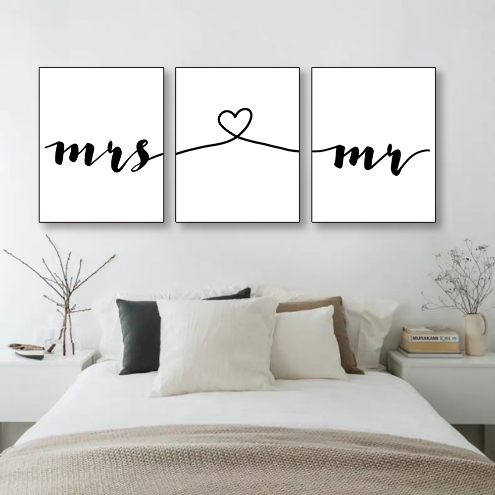 Laeacco Canvas Painting Calligraphy Minimalist Mr Mrs Family Simple Quotes Wall Art Poster Print Picture for Living Room Decor in Painting Calligraphy from Home Garden