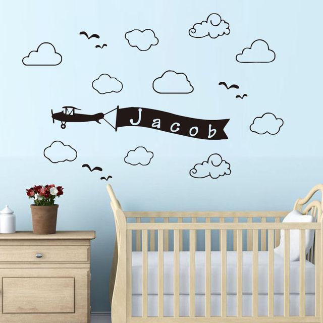 Avion Drapeau Personnalisé Nom Wall Sticker Nuages Customied Nom ...
