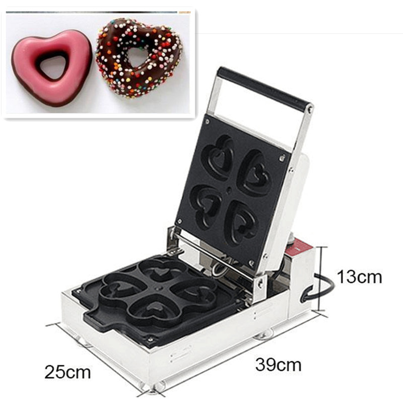 110V/220V Commercial Electric Heart Waffle Maker Doughnut Machine 4 pcs Non-stick Donut Baker Making Machine 110v 220v non stick commercial electric sweet donut machine 6pcs donut fryer waffle maker commercial cake machine free shipping