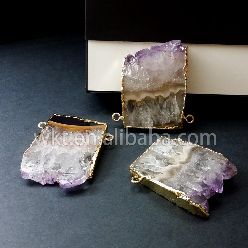 WT P215 Hot sales Beautiful slice purple stone Stalactite Slice with 24k Gold Electroplated Pendant Necklace
