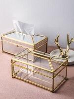 Creative European Light Luxury Mirror Paper Tray Household Storage Nordic Transparent Glass Tissue Box