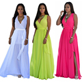2016 Bridess Solid mujeres de La Manera Maxi Largo Beach Casual Summer Party Vestido de Gasa Con La Correa