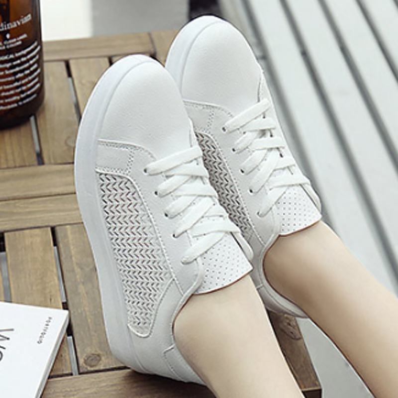 White casual shoes for girls shallow lace-up female sneakers breathable comfortable womens sneakers shoes 2018 fashion