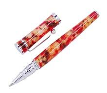 Fuliwen Celluloid Rollerball Pen com Refil, Folha de Bordo Vermelho Alaranjado Moda Caneta de Escrita de Negócios Escritório Material Escolar Em Casa