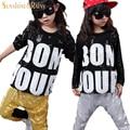 2016 Crianças Roupas de Hip Hop Outono Gola Redonda Camuflagem Legal Trucksuits Crianças De Algodão Set Para O Menino Gilrs Roupas de Hip Hop