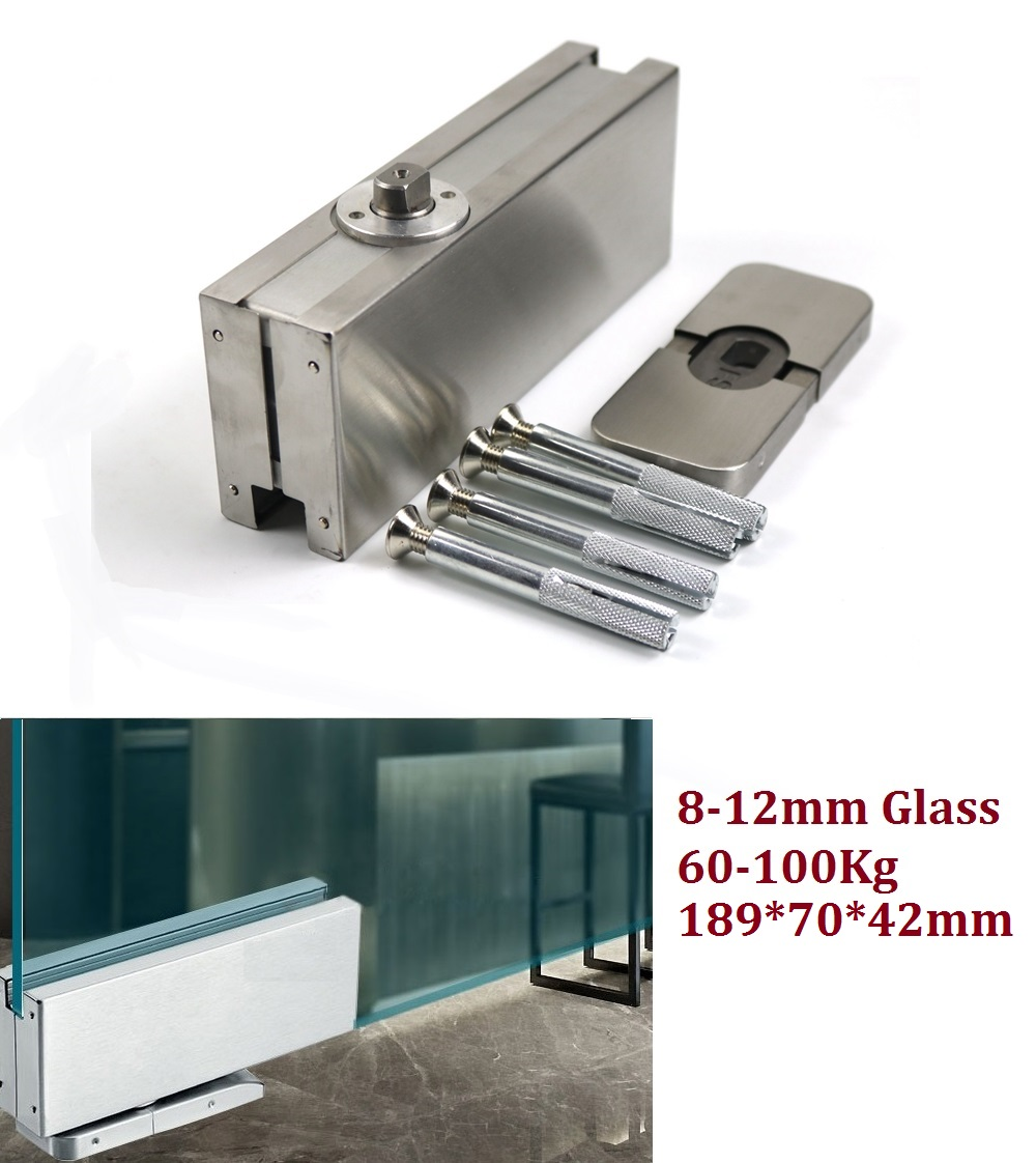 Premintehdw Surface Mount Hole Free Floor Spring Hinge Closer glass door conceal Pivot 1pc automatic mounted spring door closer stainless steel adjustable surface door closer 160x96x20mm