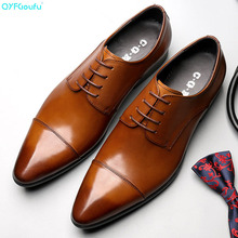 QYFCIOUFU 2019 New Handmade Designer Fashion formal shoes Wedding Male Oxford Shoe Calfskin brand Genuine Leather Men Dress