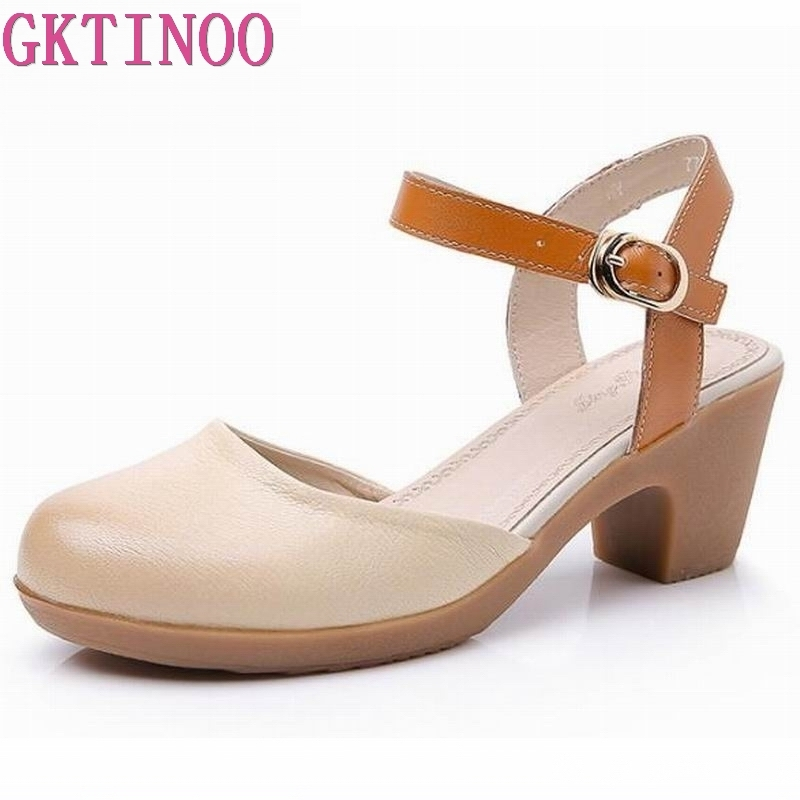 Women Sandals Summer Genuine Leather Heels Round Toe Women's Sandals Low Block Heel 6CM Woman Shoes Sexy Back Strappy-in High Heels from Shoes    1