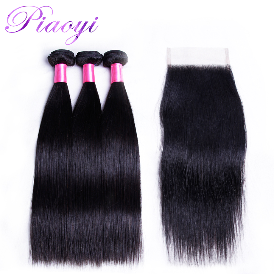 Indian Straight Hair Lace Closure With Bundles Remy Hair 3 Bundles With 4x4 Closure Piaoyi 100% Human Hair Free Shipping