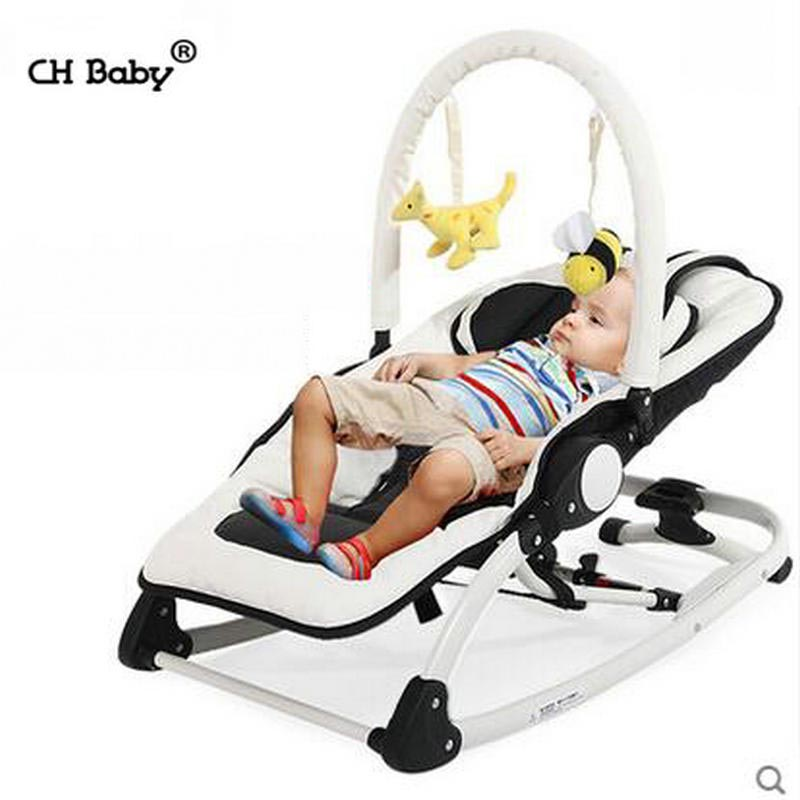 CH Baby kids Rocking Chair with music, Folding Baby Swing with removable toy rack, PU leather seat Baby Cradle baby rocker newborn baby swing portable carrier rocking chair baby bouncer toddler sleeping seat rocking swing chair cradle