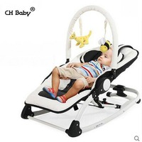 CH Baby kids Rocking Chair with music, Folding Baby Swing with removable toy rack, PU leather seat Baby Cradle