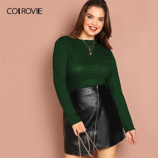 b117190c856 COLROVIE Plus Size Green Lettuce Rib-Knit Elegant T-Shirt Women Tops 2019  Spring Fashion Long Sleeve Tee Office Lady Shirts
