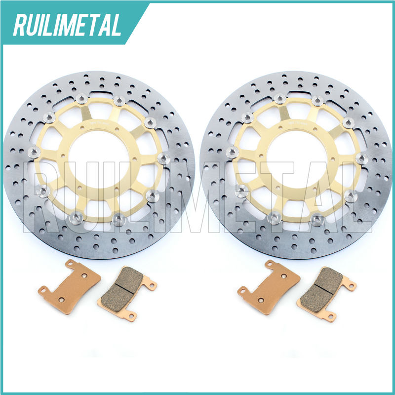High Quality New Front Brake Discs Rotors + Pads Set for HONDA CBR 600 F CBR600F F4i Sport F4 01 02 03 04 05 06 2004 2005 2006 2001 2002 2003 2004 2005 2007 full set motorcycle new front rear brake discs rotors for honda cbr600f cbr 600 f supersport f4
