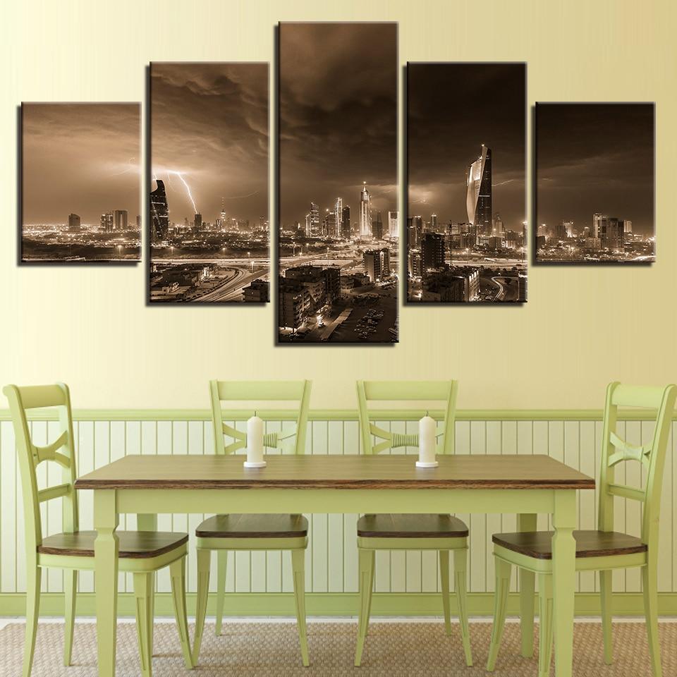 5 Panel Canvas Painting Lightning Overcast City Building Landscape ...