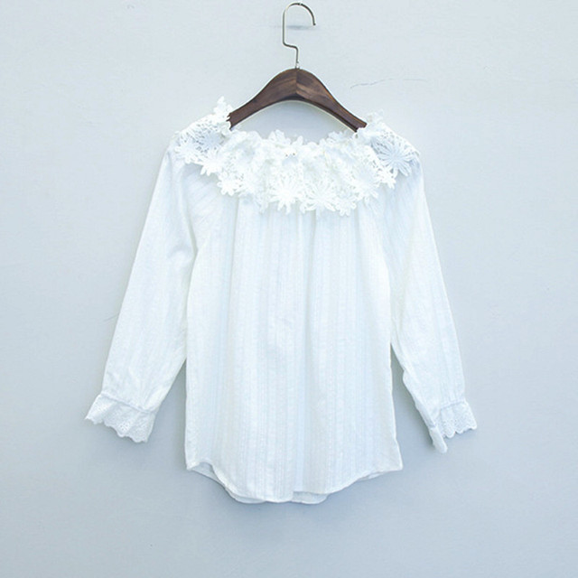 Aliexpress.com : Buy Cute Flower Lace Patchwork Off Shoulder Top ...