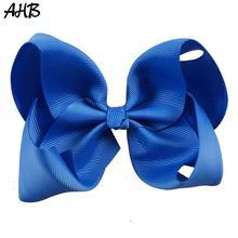 цена на AHB 5 Inch Solid Hair Bows for Girls Hair Clips Grosgrain Ribbon Hairbows Cute Princes Hairpins Children's Handmade Hairgrips