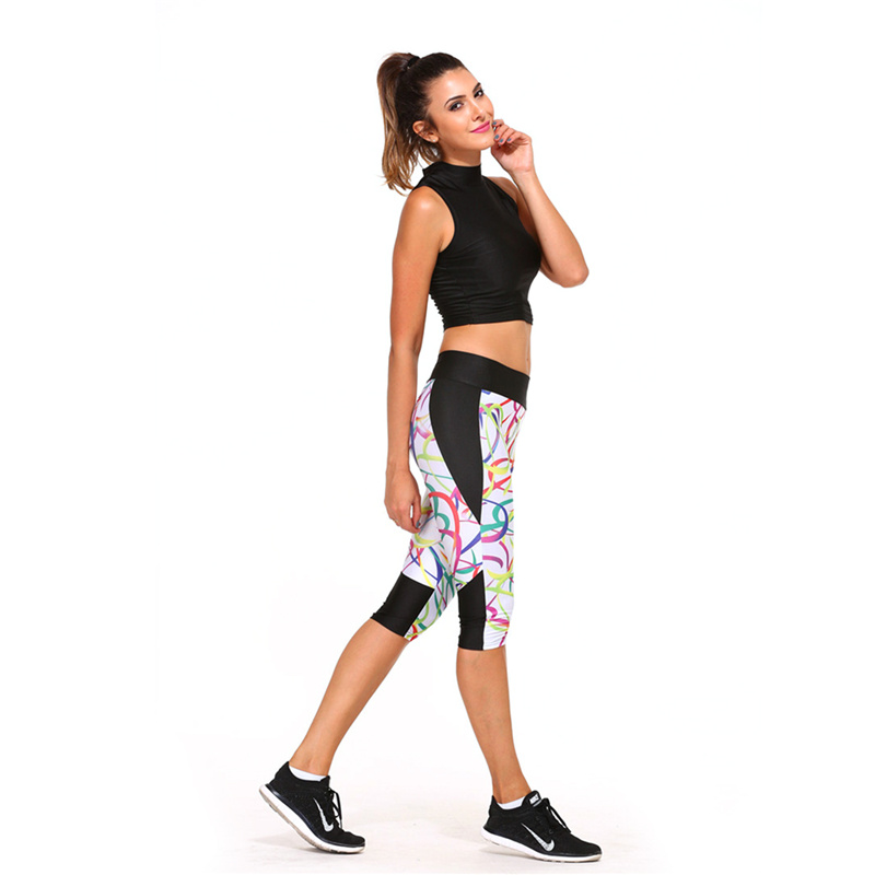 Outdoor 2018 Sexy Shorts Women Yoga Pants Sport Gym Fitness Slim Elastic High Waist Tights Leggings Cropped Printing Trousers