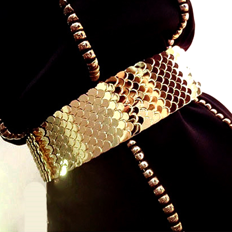 Europe Fashion Female Gold Fish Scale Metal Elastic Wide Girdle For Women Nightclub Party Shiny Accessories Waist Belt Waistband