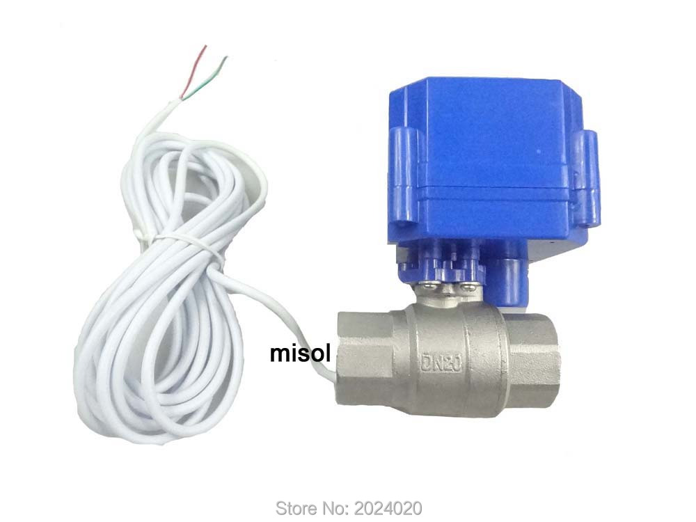 1 pcs motorized ball valve 3/4 NPT, DN20, 2 way 12VDC CR04, stainless steel electrical valve