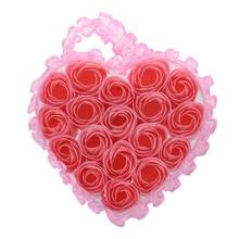 Buy Light Pink Pleated Hem Heart Gift Box Bath Soap Flower Petal 18 in 1 directly from merchant!