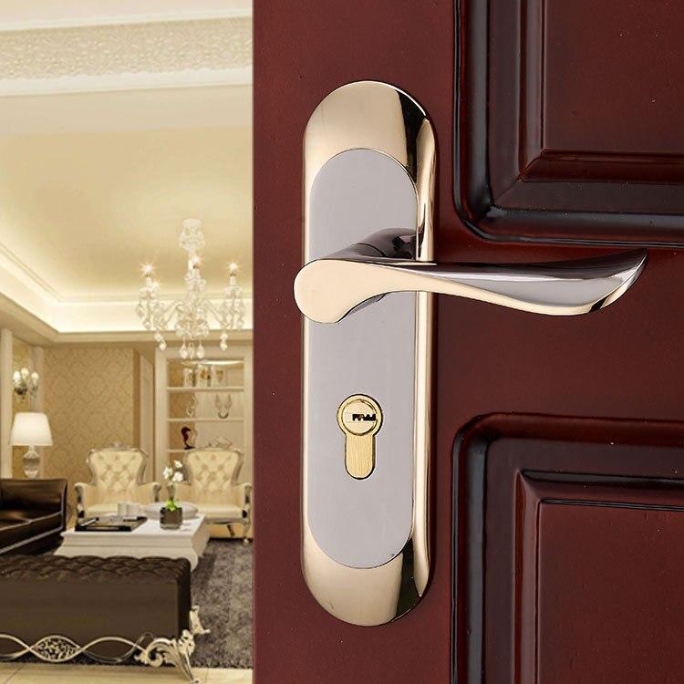GOLD Door Lock knobs and handles door lock mortice lock Modern Style Mute anti-theft lock hardware