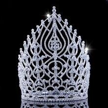21.5 cm 8.4in Yükseklik Taklidi kutlama taçları Alaşım Büyük Tiaras Ve Taçlar Prenses Kafa Doğum Günü Bayan Taç Kadınlar Için 2018