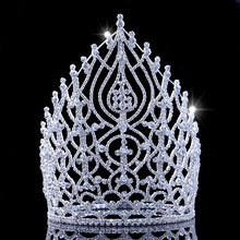 21.5cm 8.4in Height Rhinestone Pageant Crowns Alloy Large Tiaras And Crowns Princess Head Birthday Miss Crown For Women 2018