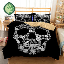 HELENGILI 3D Bedding Set skull Print Duvet cover set lifelike bedclothes with pillowcase bed set home Textiles #2-20