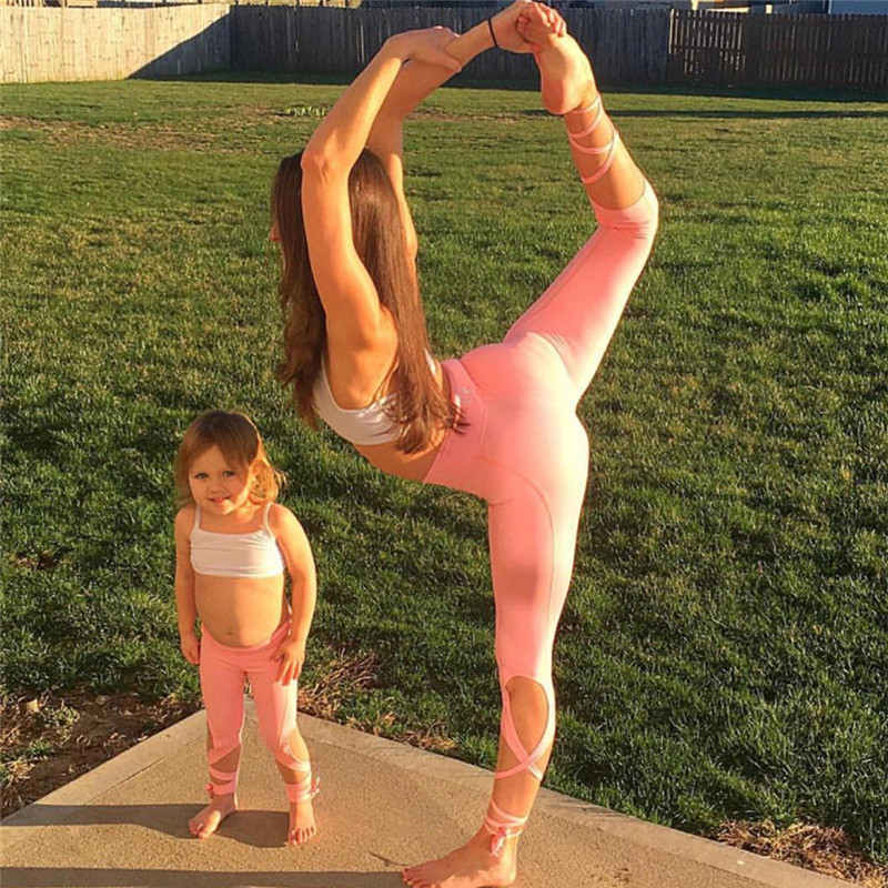 Mother And Daughter Family Clothes Women Kids Girl Fitness Crop Tube Tops Leggings Clothing Sets Family Matching Outfits In Matching Family Outfits From