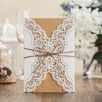 Nuevo blanco Invitación fiesta elegante papel de corte láser decoración visitas romántica Encaje invitación de la boda de la flor