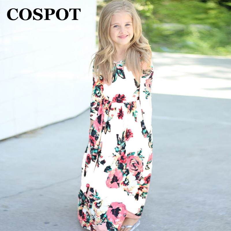 COSPOT Baby Girls Beachwear Long Dresses Girl Bohemian Fashion Long-sleeved Floral Dress ...