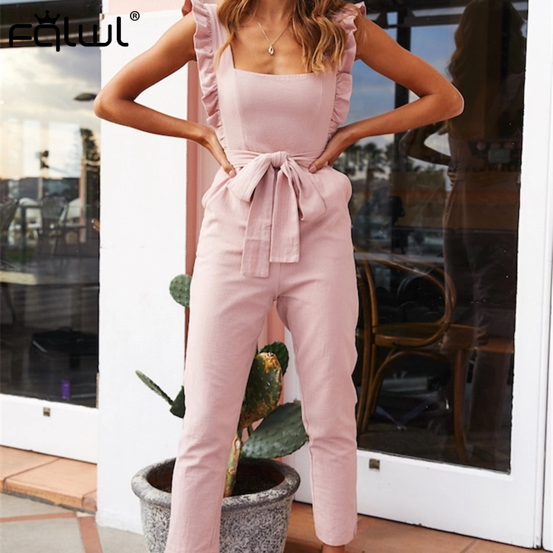 FQLWL Casual Ruffles Bandage Sexy Bodycon   Jumpsuit   Women 2019 Pink Backless Skinny Ladies Summer Rompers Womens   Jumpsuit   Female