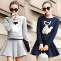 New 2016 Autumn Winter Women Blue Gray Elegant Skirt Suits Female Skirt Suits 2 Piece Set Women Sweatshirt And Mini Skirt