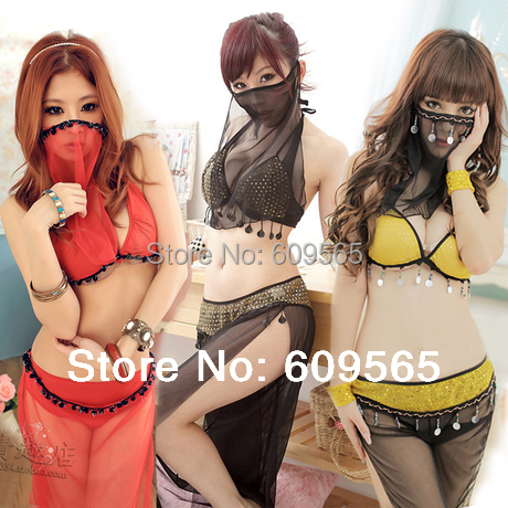 Sexy  Three Colors Lingerie Arab Costume Suits Women Party India Cosplay Nightdress Mesh Legging Mask G String Pants Dress