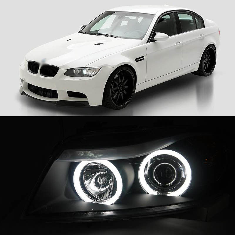 цены Ownsun Dual CCFL Angel Eye Bi-Xenon Projector Lens Headlight Light for BMW E90 320i 318