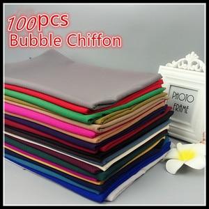 Image 1 - H65 100pcs  top sale bubble chiffon hijab muslim scarf  best  shawl 180*75cm  can choose colors