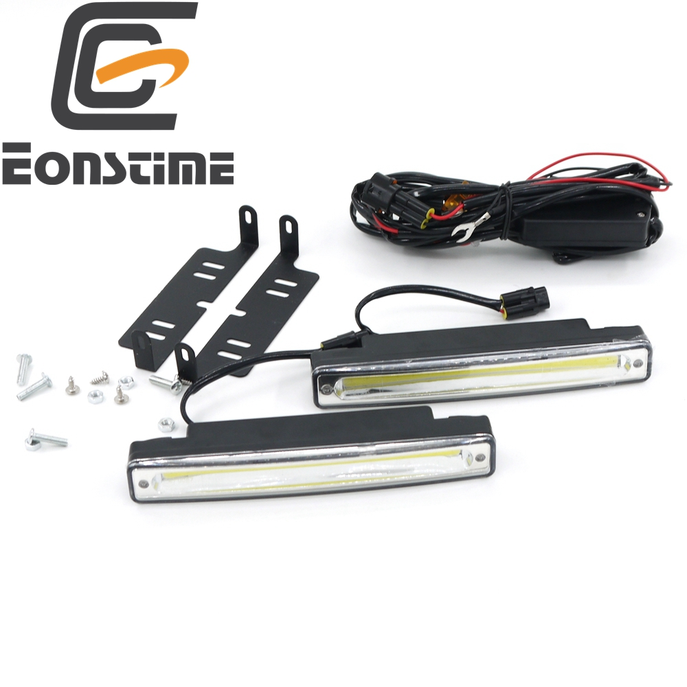 Eonstime 2pcs Ultra Bright 8W COB Waterproof Daytime Running Lights 6500K LED Kereta DRL Lampu kabut 12V / 24V off light Current Driver