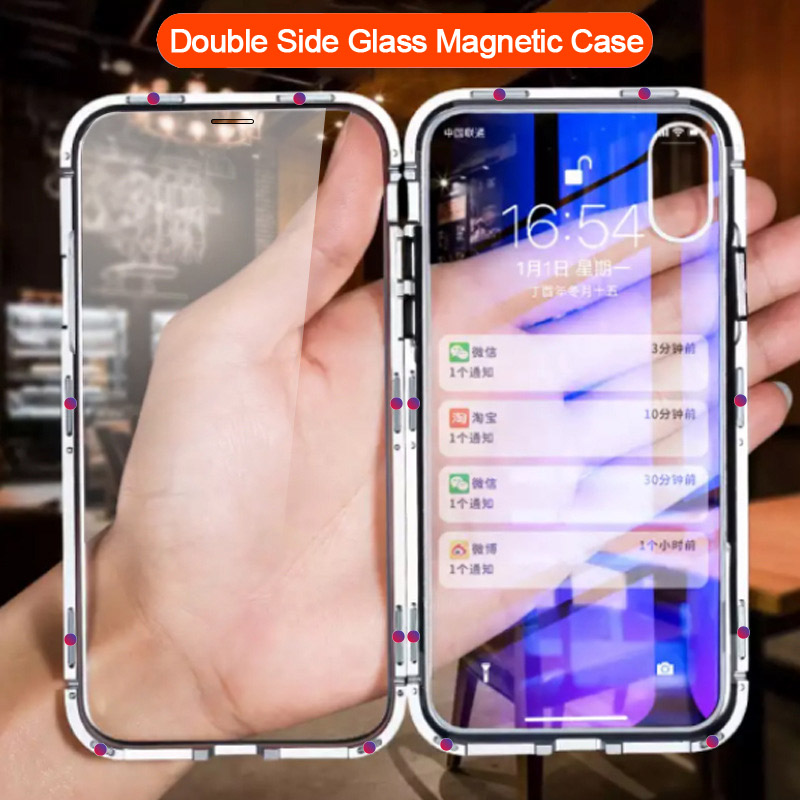 Onbaatzuchtig Clear Dubbelzijdig Gehard Glas Magnetische Adsorptie Flip Case Voor Iphone Xs Max Iphone 10 X Xr Xs 360 Bescherming Magneet Cover Tekorten