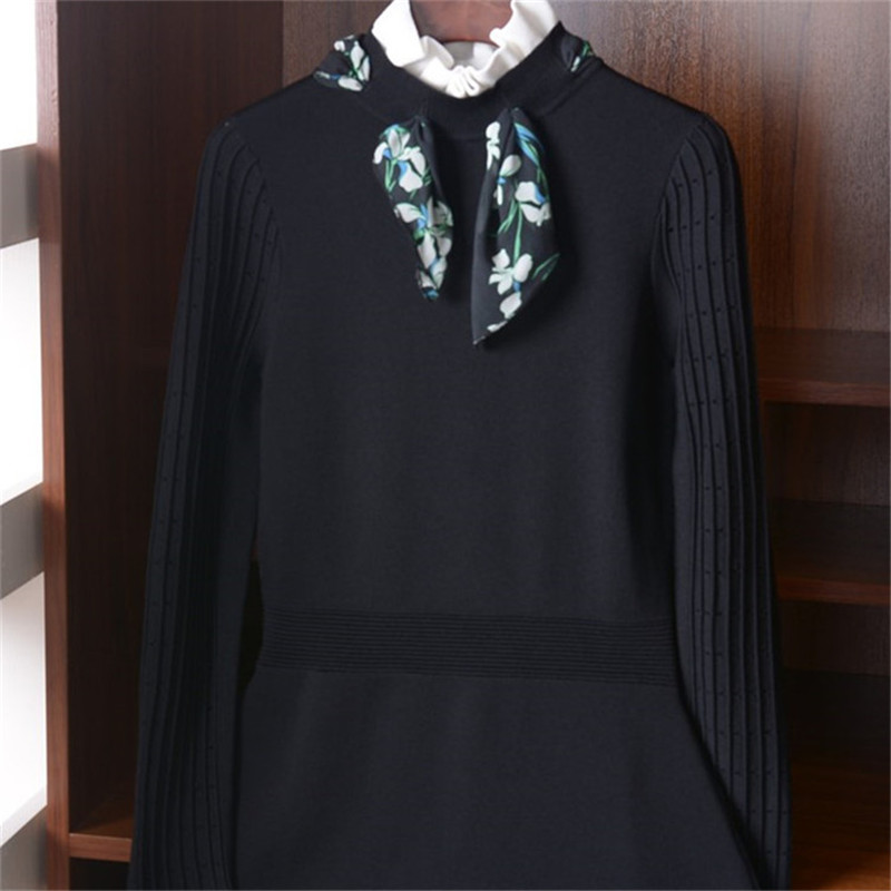 viscose polyester blend solid knit women fashion lace up butterfly collar slim pullover sweater S L retail wholesale