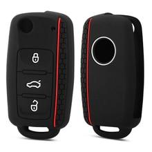 Coque de clé télécommande à 3 boutons en Silicone pour voiture VW golf, pour Skoda, Yeti superbe, rapide, SEAT leon, ibiza